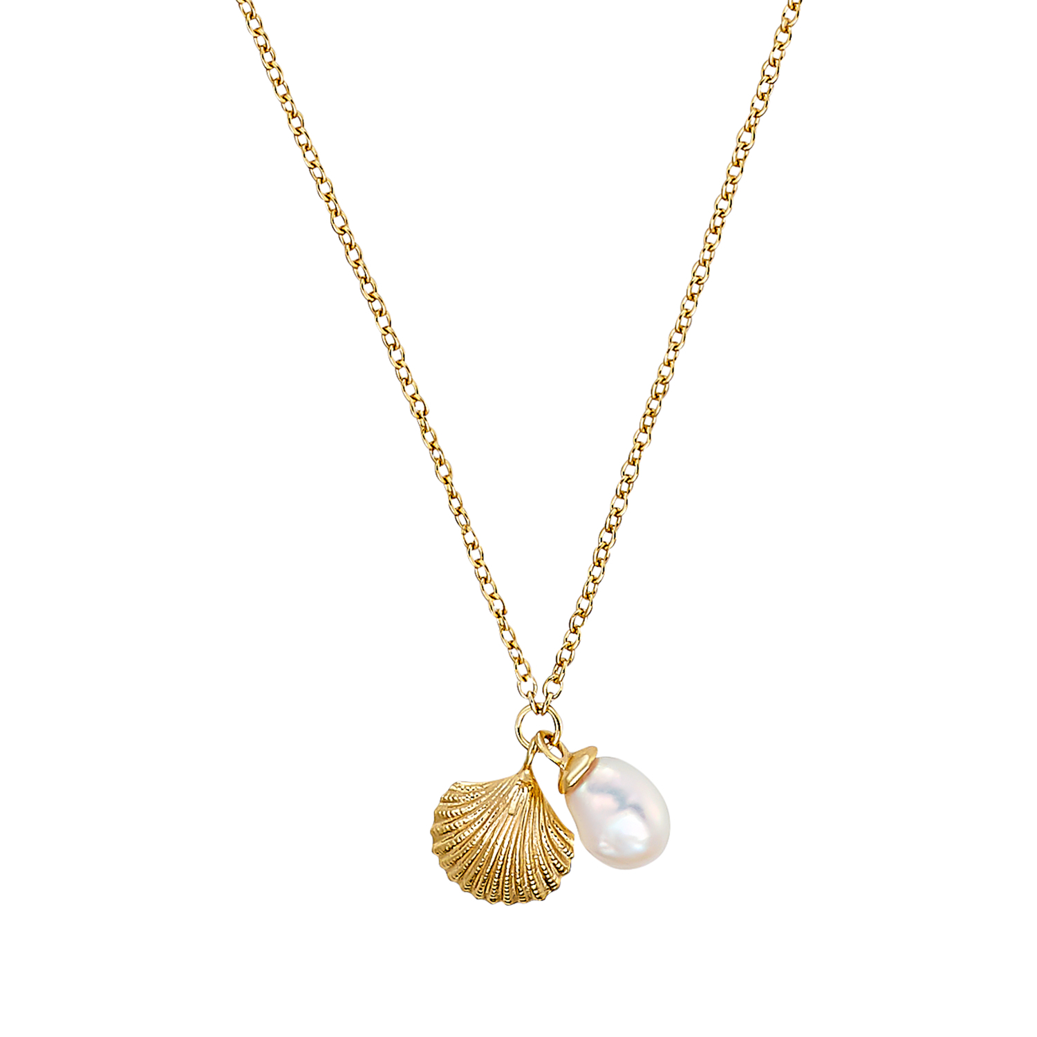 SHELL AND PEARL KETTE MIT ANHÄNGER GOLD