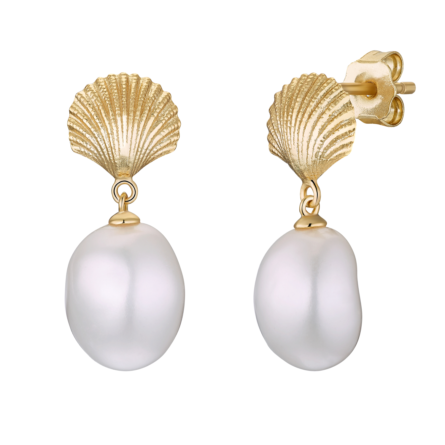 SHELL AND PEARL CREOLEN GOLD